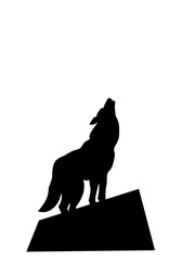 silhouette of a howling wolf