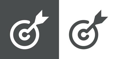 Icono plano flecha en diana gris y blanco