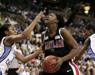 University of North Carolina's Latta faces University of Maryland's Langhorne during NCAA Final Four semifinal in Boston