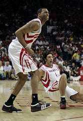 Houston Rockets McGrady reacts to a missed shot after the play against Utah Jazz during their NBA basketball playoff series in Houston