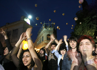 Spectators react at the Tbilisi Open Air Alter/Vision music festival in Tbilisi
