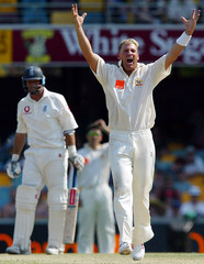 AUSTRALIAN TEAM APPEAL FOR WICKET OF ENGLISH CAPTAIN HUSSAIN DURINGFOURTH DAY OF THE FIRST ASHES ...