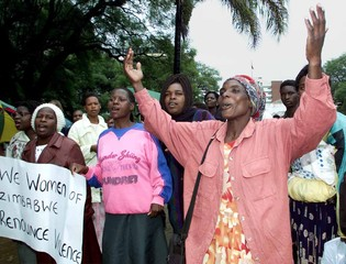 WOMEN DEMONSTRATE FOR PEACE IN HARARE.
