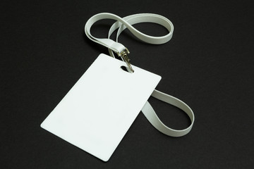 Identification card isolated on black background