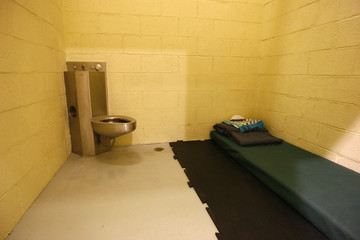 Interior of a solitary confinement cell at a new detention centre is pictured at the U.S. Bagram Air Base