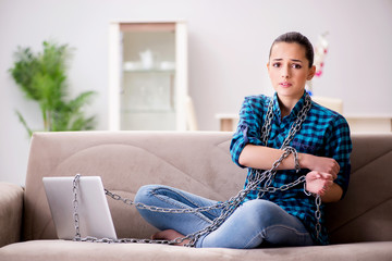 Young girl addicted to tv wasting her time