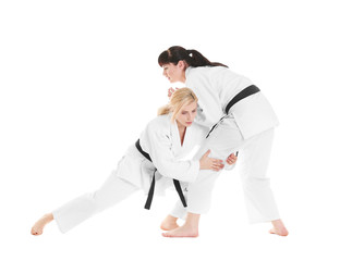 Young sporty women practicing martial arts on white background