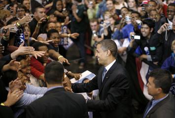 US Democratic presidential candidate Obama greets supporters in St. Paul, Minnesota