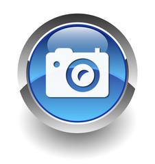 Camera icon elegant cyan blue button