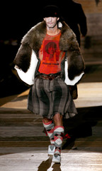 A model presents a creation as part of Vivienne Westwood's Fall/Winter 2006/2007 men's collections in Milan