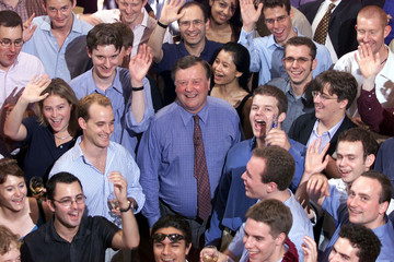 KENNETH CLARK MP STANDS SURROUNDED BY YOUNG CONSERVATIVE MEMBERS.
