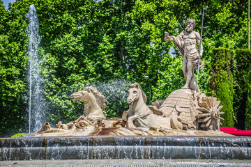 Fountain of Neptune (Fuente de Neptuno) one of the most famous landmark of Madrid, Spain