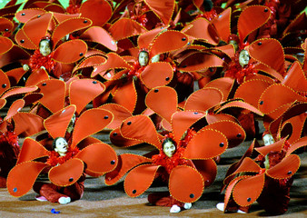 Dancers dressed as flowers take part in the Opening Ceremonies at the XIV Pan American Games in Sant..