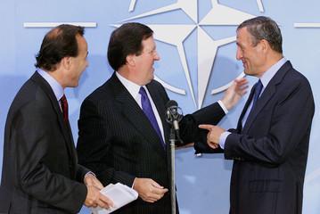 NATO SECRETARY GENERAL ROBERTSON, EU ENVOY TO MACEDONIA LEOTARD ANDBELGIAN AMBASSADOR ALEXIS ...