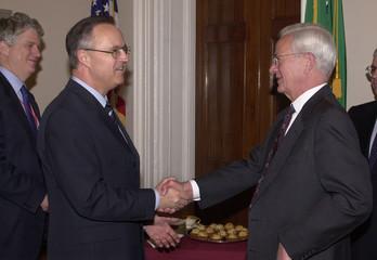 U.S. TREASURY SECRETARY O'NEILL MEETS WITH GERMAN FINANCE MINISTER EICHEL.