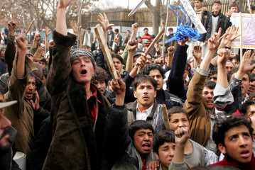 Afghan protesters chant slogans in Kabul