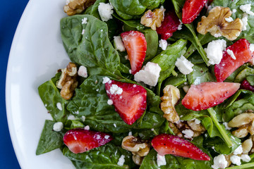 Fresh organic strawberry spinach salad