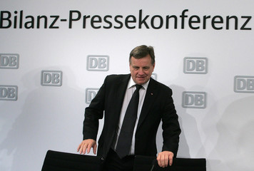 Deutsche Bahn CEO Mehdorn arrives for the annual news conference in Berlin