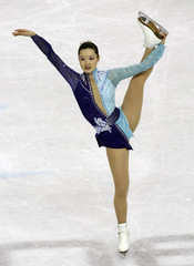 Arakawa performs in the women's free program during the Figure Skating competition at the Winter Olympic Games
