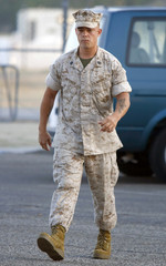US Marine Staff Sergeant Frank D. Wuterich arrives for his Article 32 Investigation hearing in the Haditha investigation at Camp Pendleton