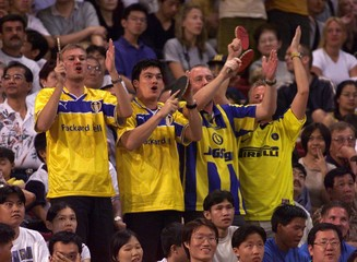SWEDISH FANS CHEERS THEIR TEAM DURING THE FINAL OF THE MEN'S WORLD TEAM TABLE TENNIS CHAMPIOSHIPS ...