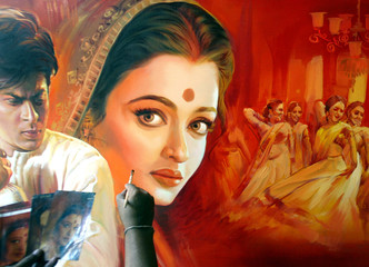An Indian artist paints a Bollywood film poster at a workshop in Bombay.