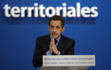 France's President Sarkozy delivers a speech about plans to reform France's system of regional and local government in Saint Dizier