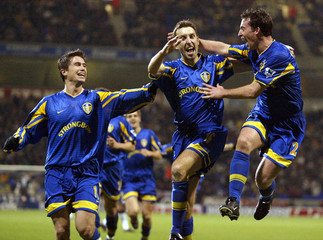 LEEDS UNITED'S WILCOX CELEBRATES SCORING AGAINST BOLTON WANDERERS INTHEIR ENGLISH PREMIER LEAGUE MATCH ...