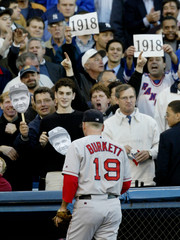 RED SOX PITCHER BURKETT TAUNTED BY FANS AS HE LEAVES GAME 6 OF ALCS.