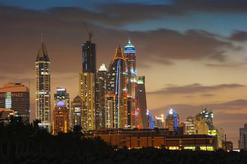 Dubai Marina skyline at dusk, Dubai
