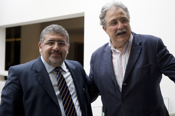 Fouad Alaoui, vice president of French Islamic Organizations, and Chems-Eddine Hafiz of Grand Mosque of Paris leave French Muslim Council's (CFCM) elections