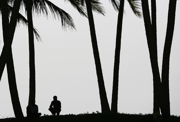 Two men take a break under the shade of palm tress, in Paraliya