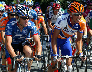 LANCE ARMSTRONG OF THE USA RIDES WITH MICHAIL BOOGERD OF THENETHERLANDS DURING THE EIGHT STAGE OF ...