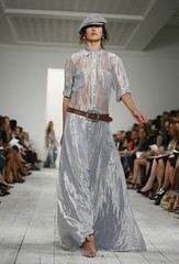 A model presents a creation from the Ralph Lauren Spring 2010 collection during New York Fashion Week