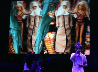 "Sierra of  ""CocoRosie"", an American duo formed by sisters Bianca Leilani ""Coco"" and Sierra Rose ""Rosie"" Casady, performs with Tez during the annual Byblos International Festival in the ancient city of Byblos"