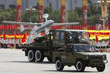 Unmanned aircraft is seen during parade to mark 60th anniversary of founding of People's Republic of China in Beijing