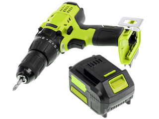 Cordless screwdriver, cordless drill on a white background.