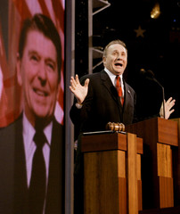Michael Reagan speaks during tribute to father at Republican convention in New York.