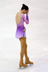 Didier of France reacts after falling during the Ladies Free Skating portion of the 2009 ISU World Figure Skating Championships in Los Angeles