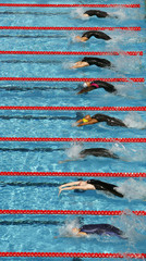 Swimmers compete in the women's 50m backstroke swimming heats at the World Championships in Rome