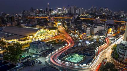Hua Lamphong Railway Station cityscape view.