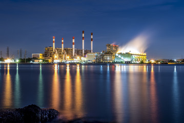 Power station and river at dusk