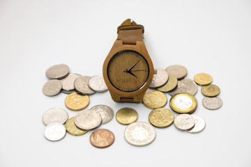 wooden watch putting on various sizes coin stack with white background,this image for money saving and retro concept