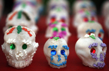 "Candy skulls are seen for sale as part of ""Dia De Los Muertos"" or ""Day of the Dead"" festivities in Los Angeles"