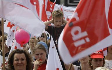 German nursery teachers and kindergarden employees protest during a demonstration im Munich