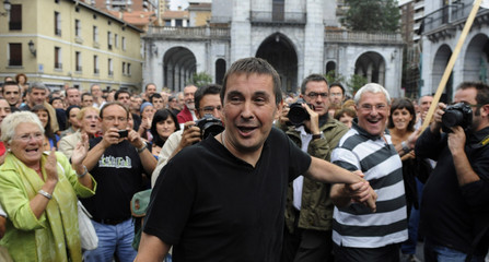Batasuna leader Otegi is greeted by supporters during a welcoming rally at his home town of Elgoibar.