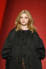 Model Jessica Stam presents a creation from the DKNY 2008/2009 fall collection during New York Fashion Week