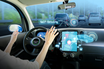 cockpit of autonomous car. self driving vehicle hands free driving.