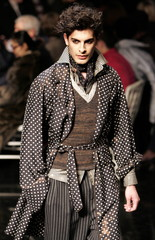 A model presents a creation by French designer Jean-Paul Gaultier fashion house men's 2006/07 Autumn..