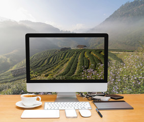 Conceptual image of a workspace with computer desktop on Tea field when sunrise with fog, Doi angkhang, Chiangmai province, Thailand
